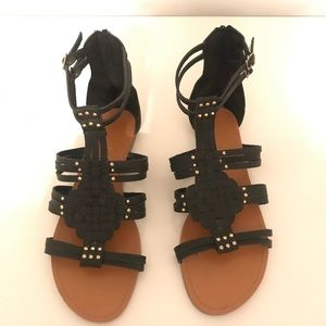 BAMBOO Black and Gold Gladiator Sandal